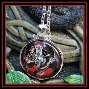 New! Celtic Skull & Dragon Necklace